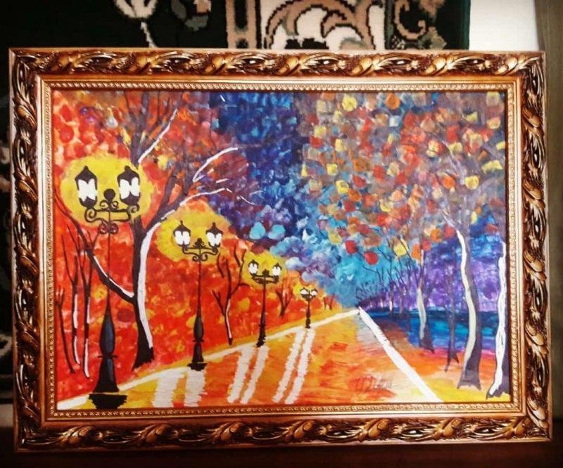 Оригинальный пейзаж маслом в стиле импрессионизма с изображением Осеный Парк Хасавюрте