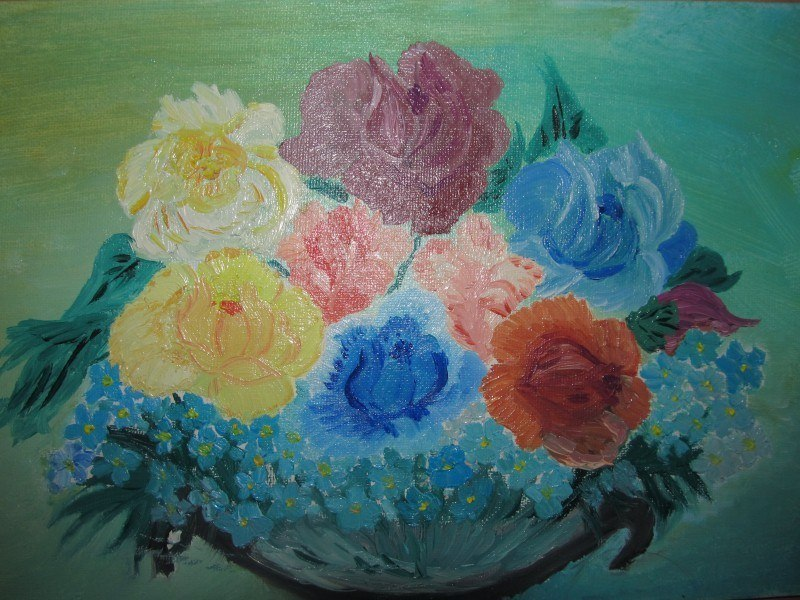 Букет с розами и незабудками