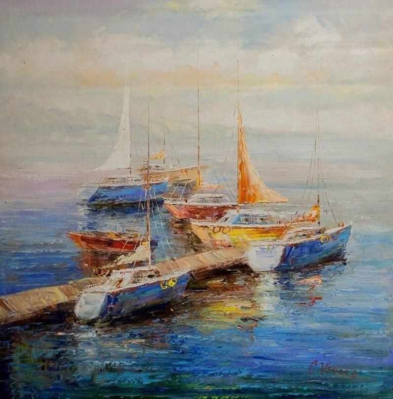Лодки в утреннем заливе N3