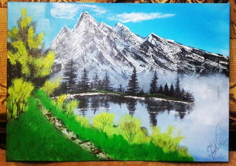 Оригинальный пейзаж маслом в стиле импрессионизма с изображением Весной горах  Галанчожский озере
