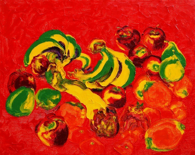 Fruit on a red background.