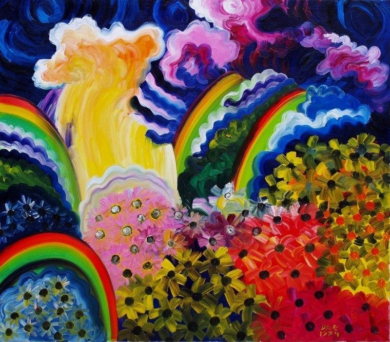Радуги у водопада. Цветочные поляны.