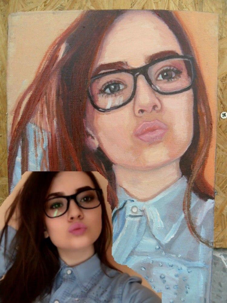 Портрет девушки по фото, холст, масло