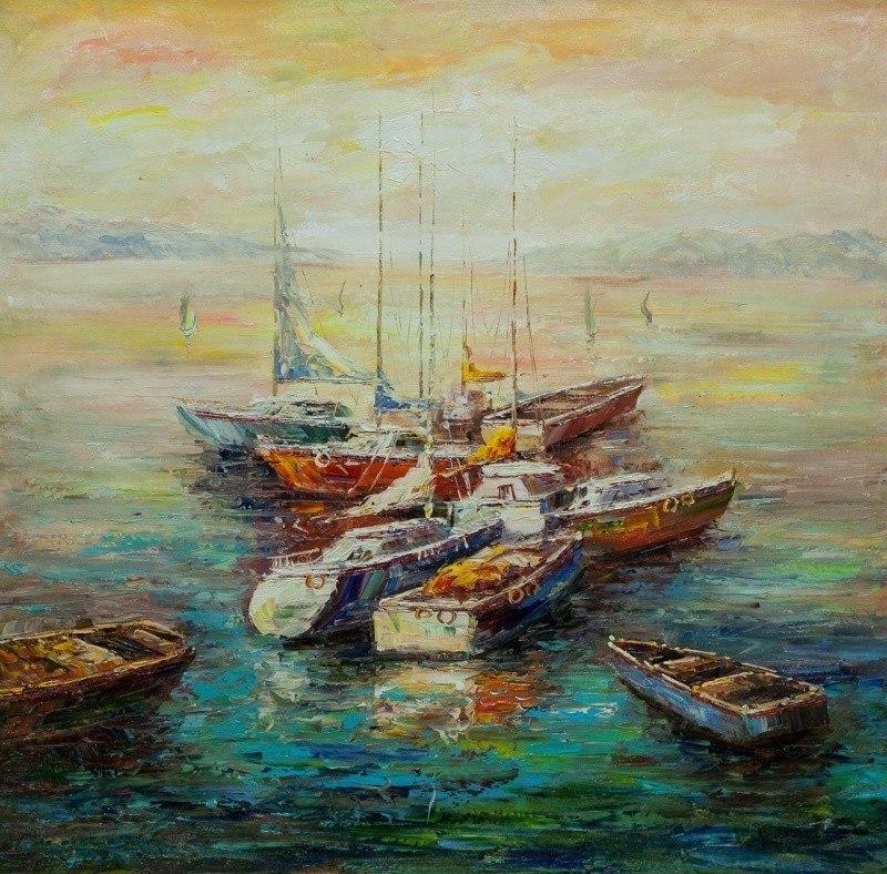 Лодки в закатном заливе N2