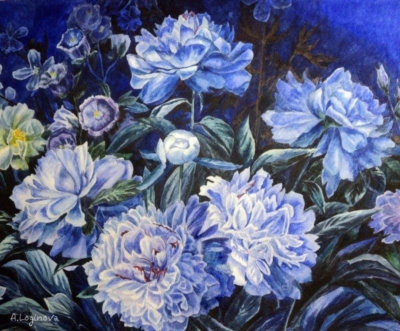 Синие пионы