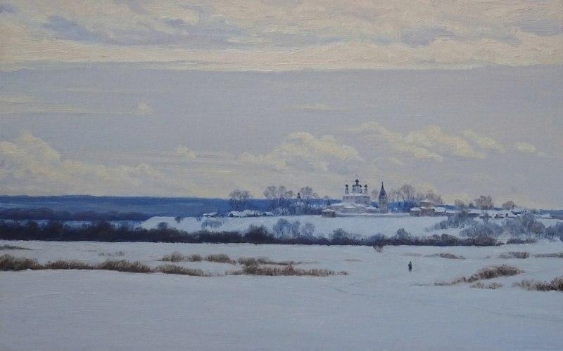 Вид на Троице-Гледенский монастырь зимой