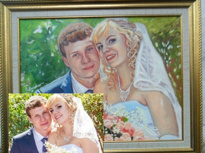 Свадебный  портрет по фото маслом на холсте