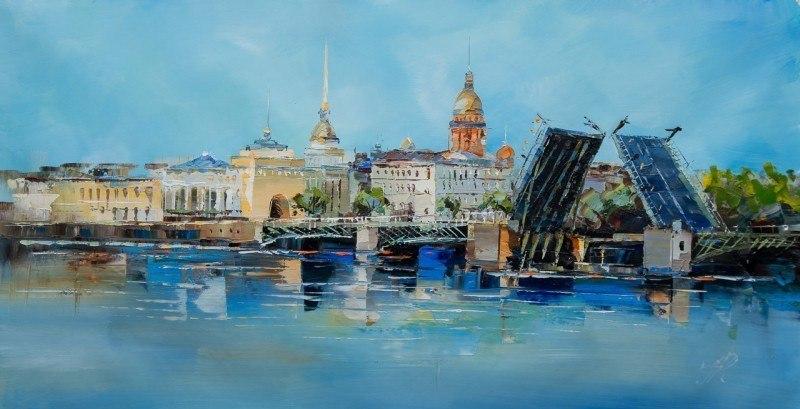 """Городской пейзаж """"Мосты Санкт-Петербурга N1"""""""
