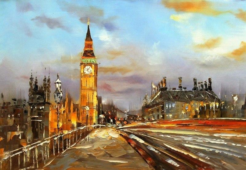 Лондон. Биг-Бен и Вестминстерский мост. Веч