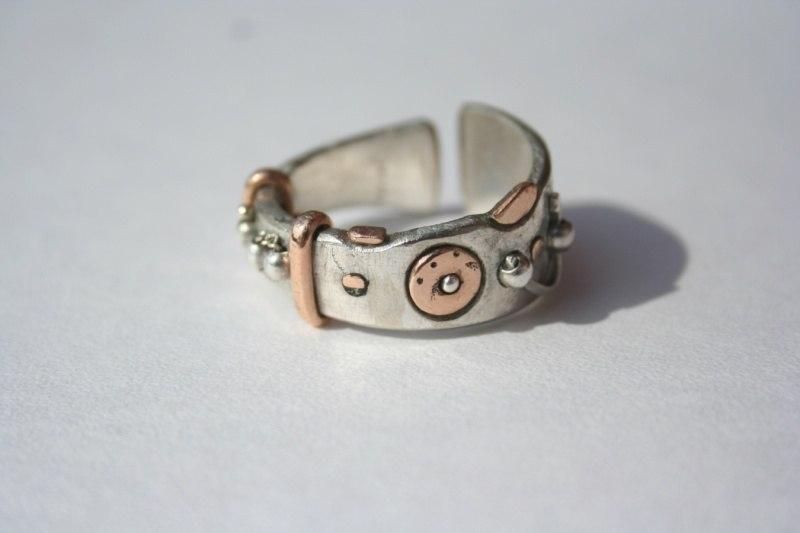 Кольцо серебряное с золотом! (ручная работа)