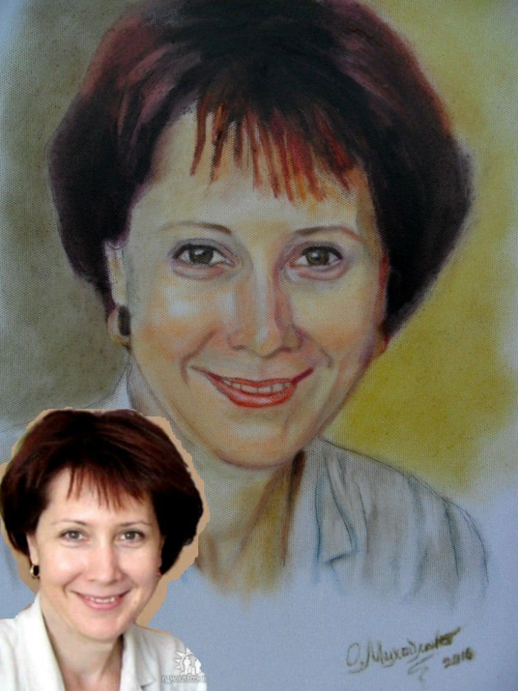 Женский портрет по фото масло сухая кисть
