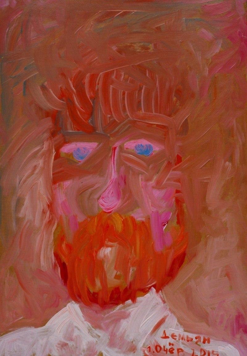 Демьян (Портрет художник из Павловска). Дерево, масло, 48-35