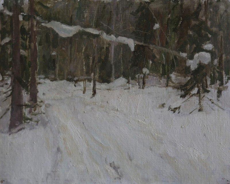 Таежный лес на Урале. Этюд