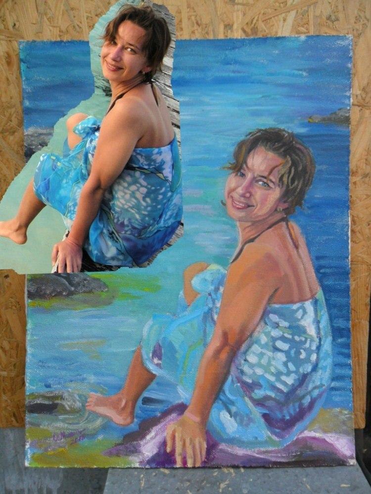 Женский портрет по фото масло, холст