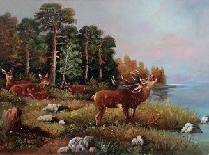 young deer beside a lake ~ Реализм