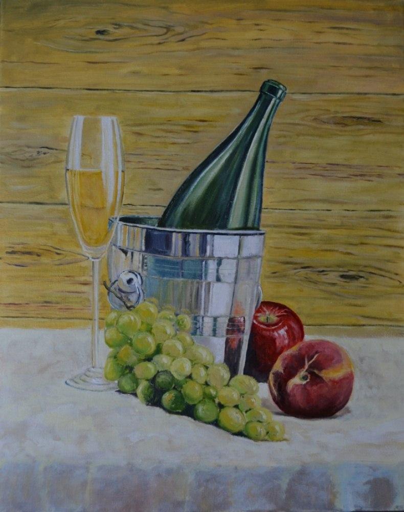 Натюрморт с фруктами и шампанским