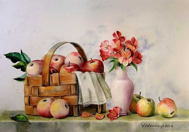 Яблоки в натюрморте