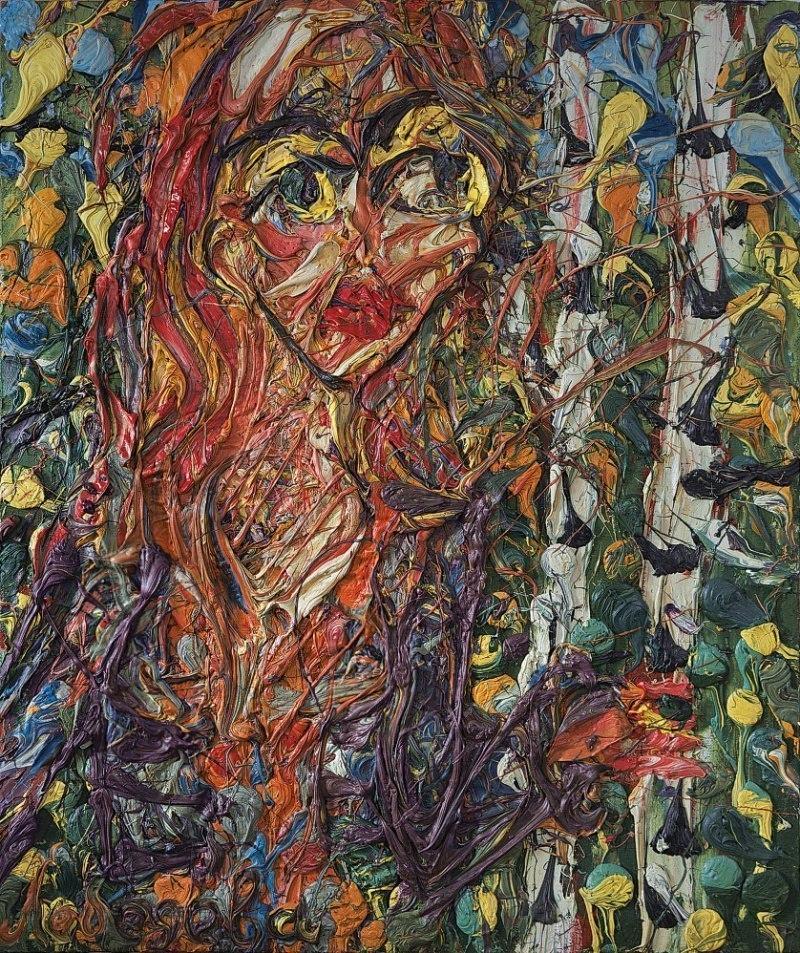 Картина Abstract painting faces Oil on canvas Екатерина Лебедева художник живопись современное искусство