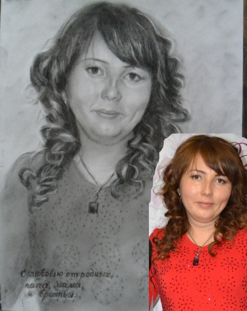 Портрет девушки по фото карандашом