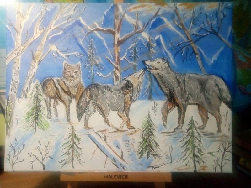 Волки, семья.