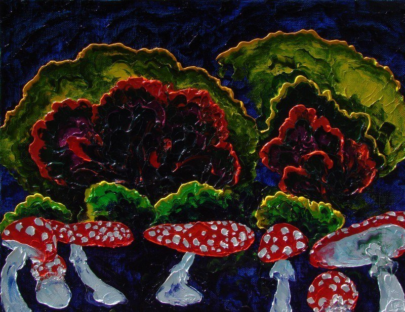 Toadstools. (Triptych - Bar forest, middle panel).