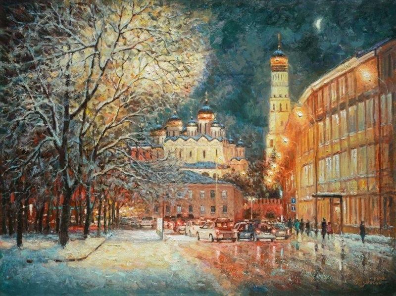 На улице зимней, средь вечерних огней...