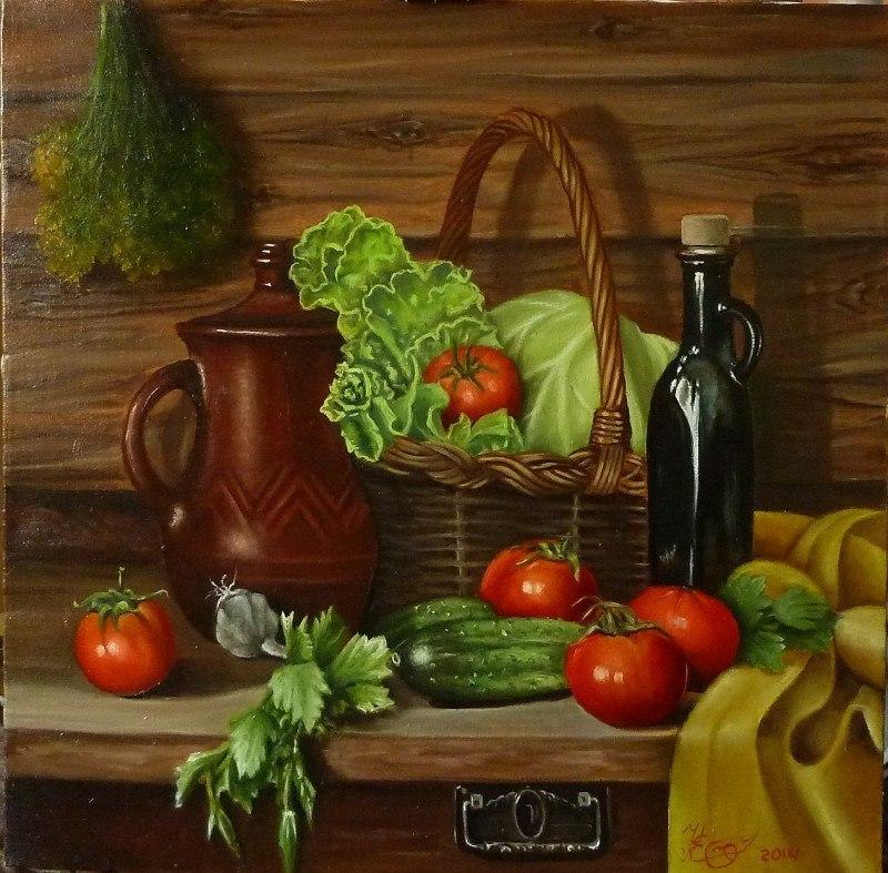 ,,натюрморт с оурцами и помидорами,,