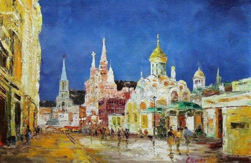Прогулки по ночной Москве. Вид с Никольской улицы