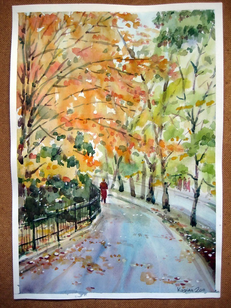 Осень в городе_ акварель2011_ 300х420мм