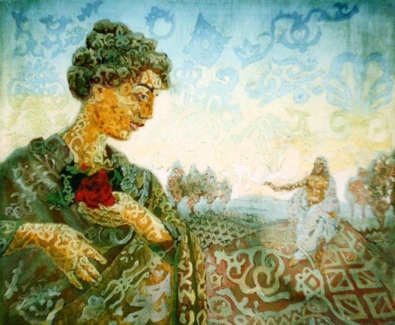 Девушка с розой земной, Христос с розой небесной