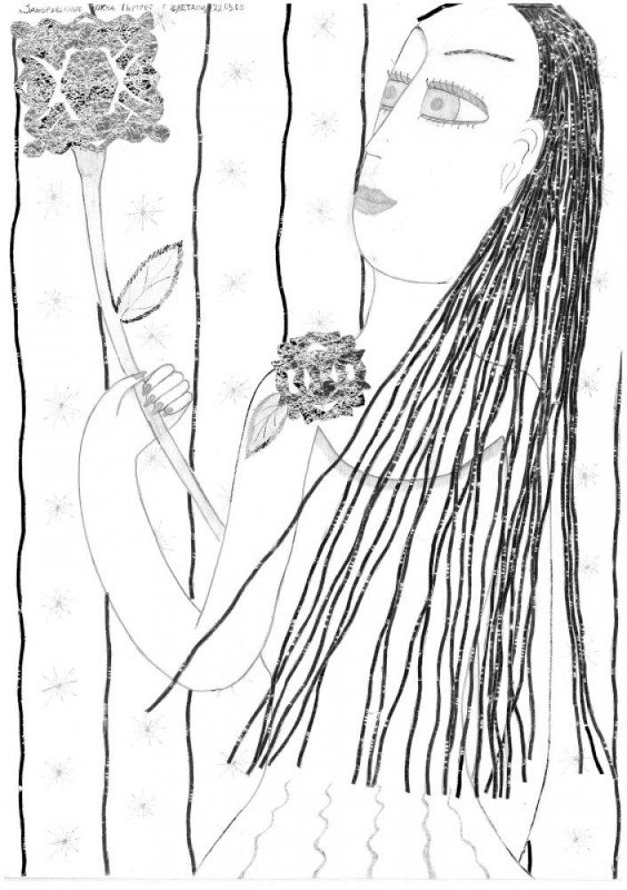Замороженные окна. Портрет с цветами
