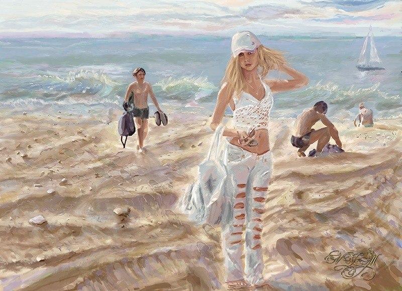 Пляж. Девочка в белом.