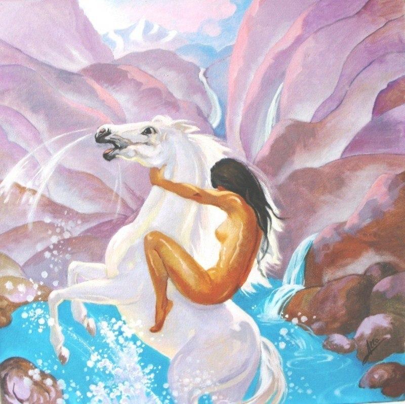УТРО. Купание белого коня