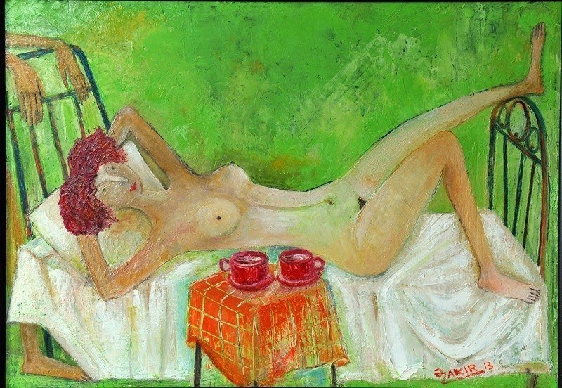 MORNING COFFEE 2013 year  Original Painting Oil on Canvas  5
