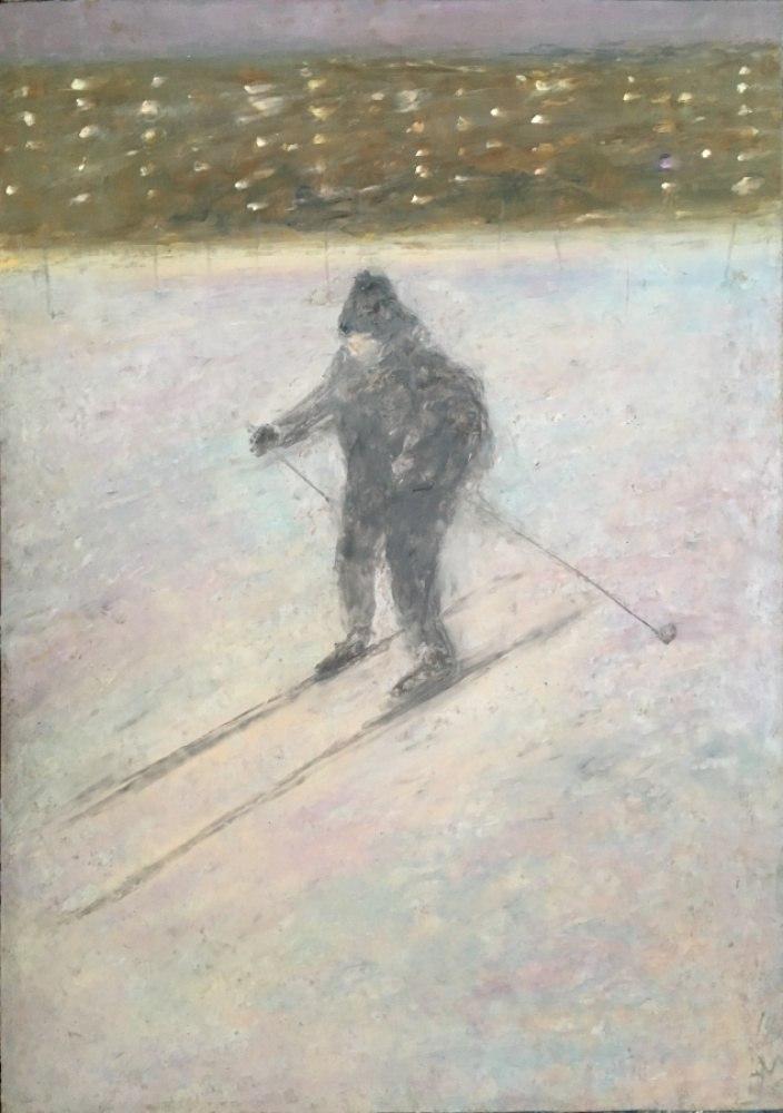 маленький вечерний лыжник