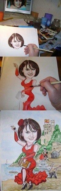 этапы рисования шаржа