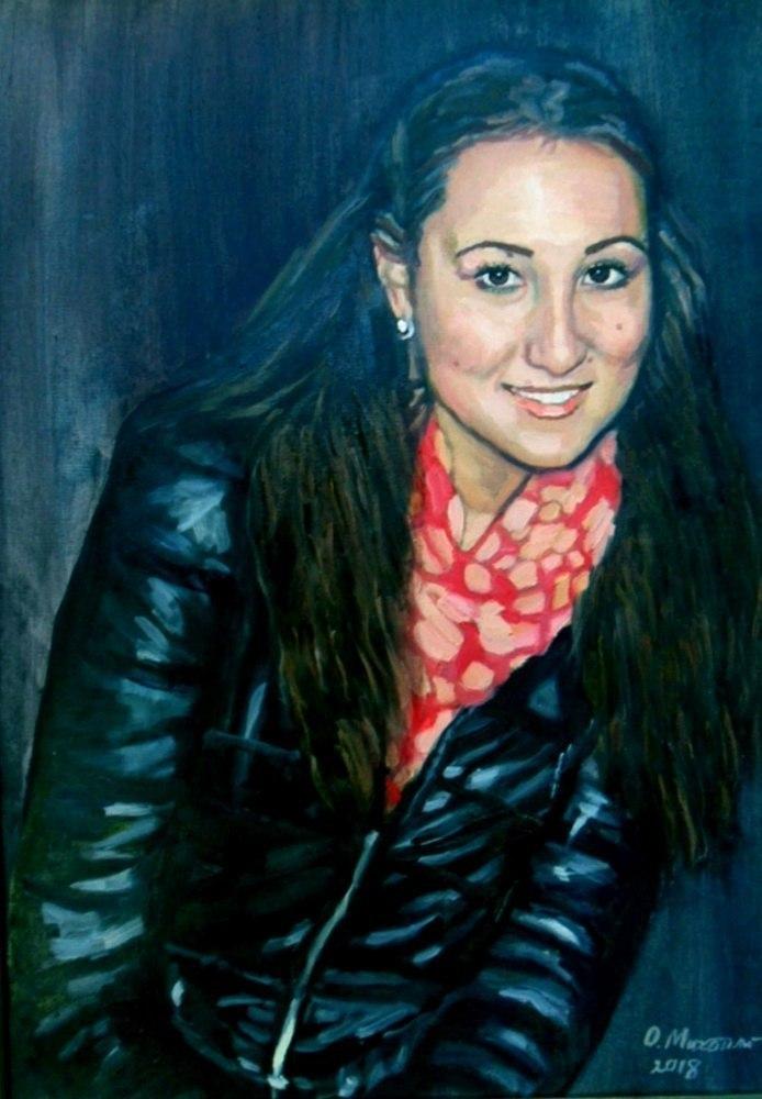 Портрет девушки в темно-синей  куртке по фото на заказ живопись на холсте