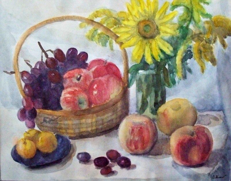 Натюрморт с подсолнухом и фруктами
