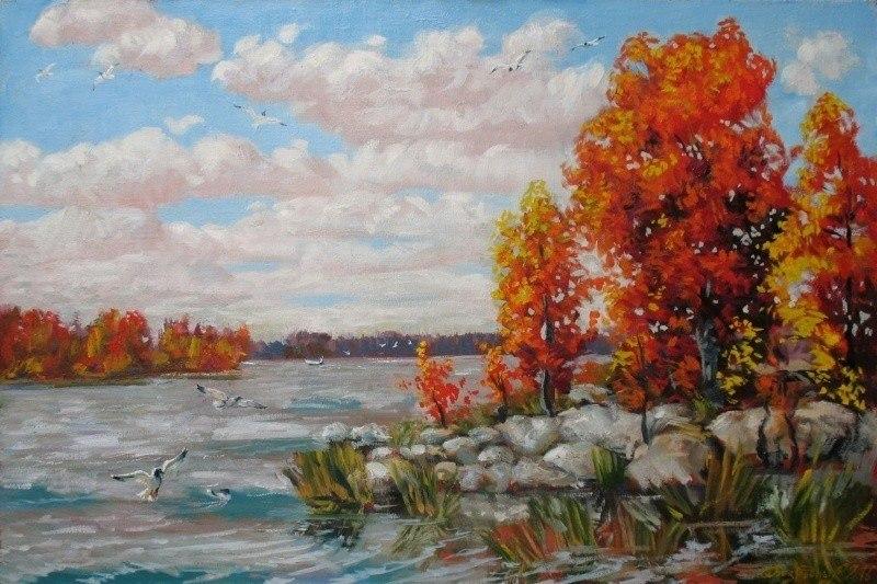 На озере осень