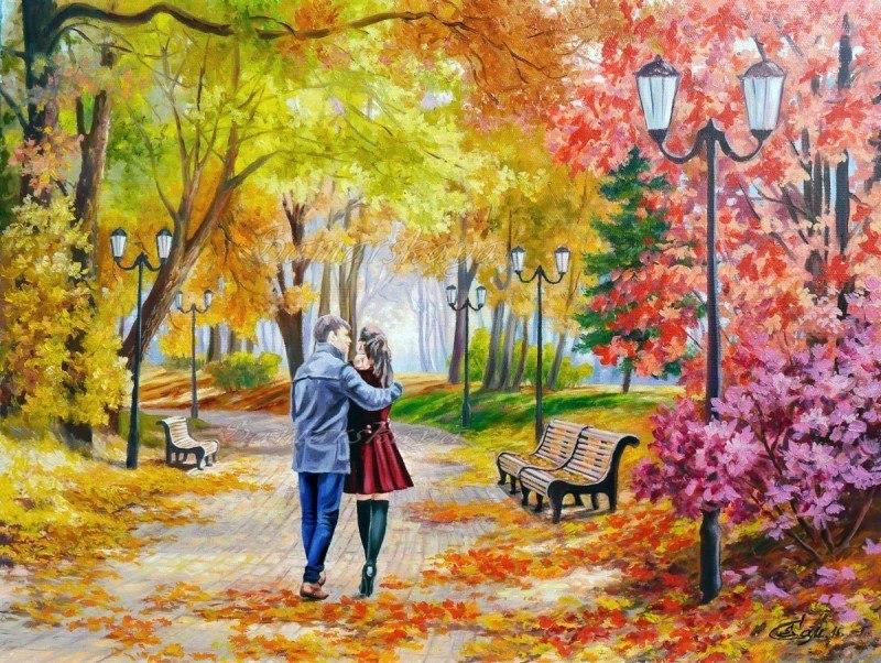 Осенний парк, скамейка, двое.