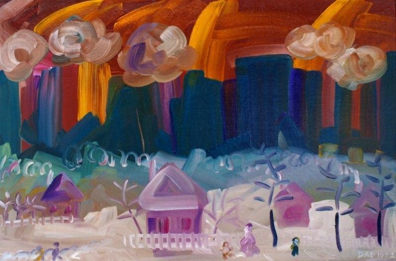 Зима вблизи большого города. (Мирный. Серия - Сибирь, Байкал. Холст, масло, 4о-6о, 1972.