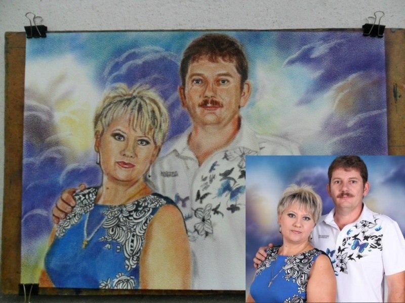 Двойной портрет по фото, масло сухая кисть, акв.бумага