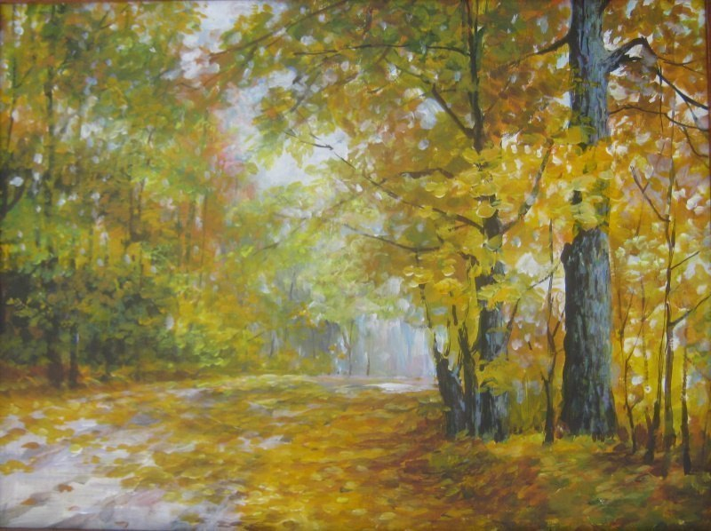 Дорога в лесу,осень
