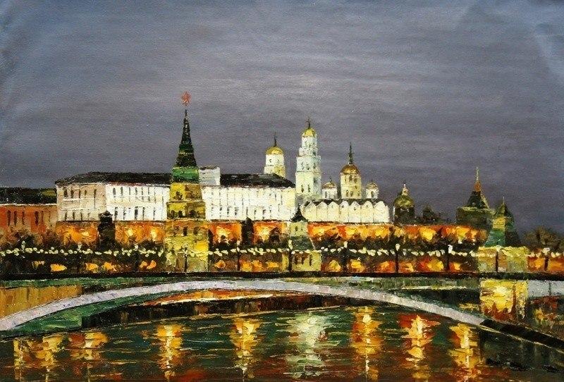 """Пейзаж маслом """"Москва. Ночной вид на Кремль"""