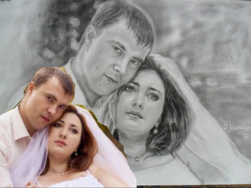 Свадебный  портрет по фото масло сухая кисть