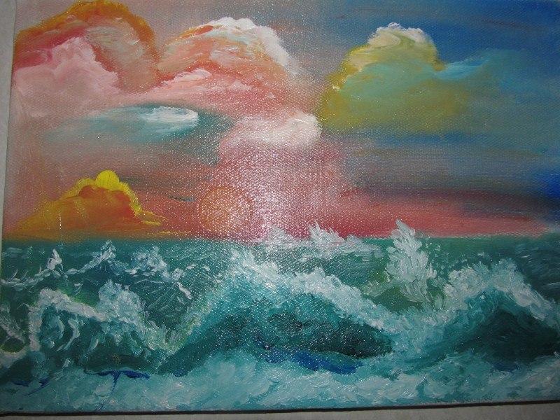Закат. Шторм. Чёрное море. Геленджик.