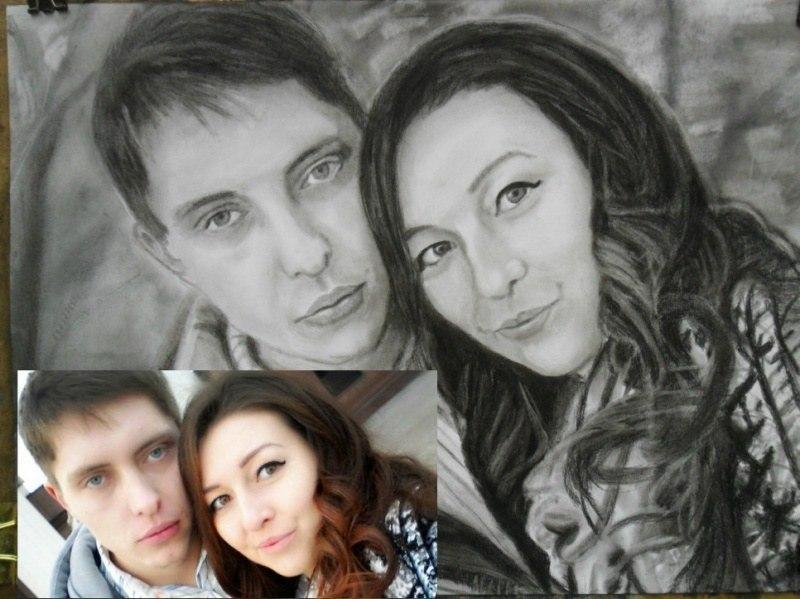 Двойной портрет по фото карандашом
