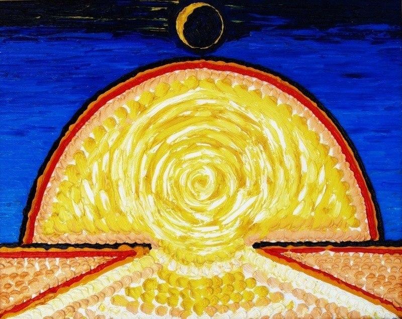Солнце прогоняющее Луну.