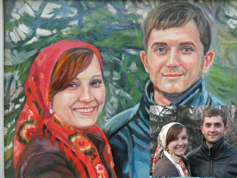 Двойной портрет по фото маслом на холсте