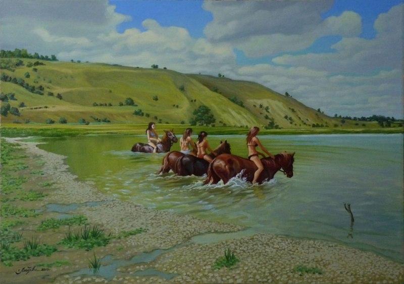 Купание коней на Дону